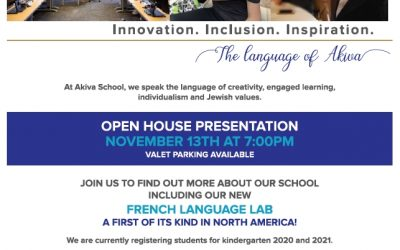 Akiva Open House Presentation – November 13th, 7:00pm